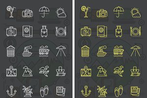 Icons Theme of Travel and Vacation