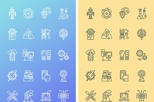 Set Icons Theme of Modern Technology