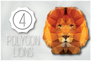 4 Geometric Polygon Lions