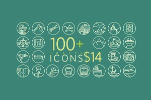 100+ Line Travel Icons for $14