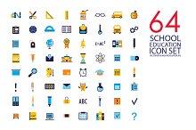 64 education & school flat icon set