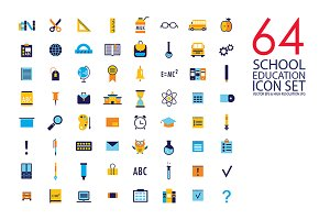 64 education & school flat icon set