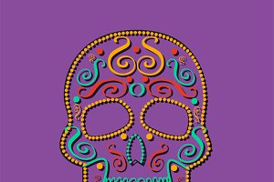 Skull vector purple background