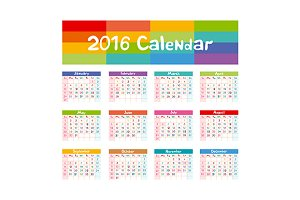 2016 Calendar vector kids hand made