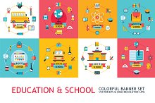 8 education and school banner set