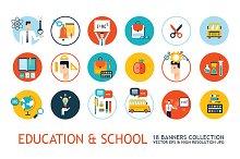 18 school education modern icon set