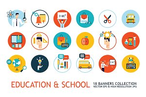 18 school education modern icon set