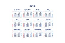 Calendar 2016. Week Starts Sunday.