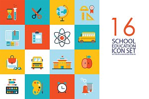 16 school & education flat icons set