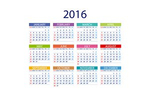 Calendar 2016. Week Starts Sunday.