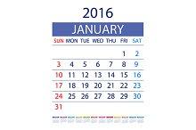 12 months 2016. Week Starts Sunday