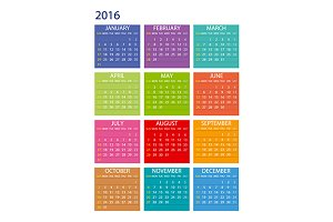 Calendar 2016. Week Starts Sunday