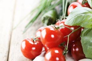 Tomatoes, garlic, chives and chili