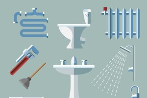 Pipeline plumbing flat style icons