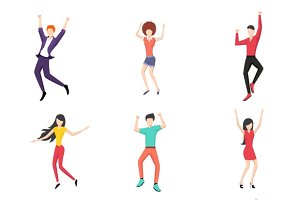 Set of dancing people in flat style