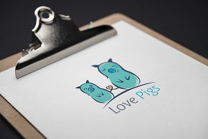 80%OFF  Love Pigs Logo Template
