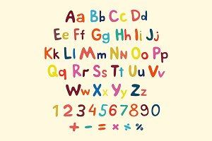 Hand-drawn vector alphabet. children