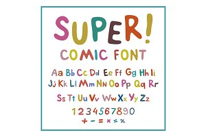 Hand-drawn vector alphabet. art kids