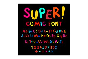 Funny alphabet cartoon font abc