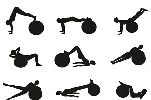 Fitness exercises on a fitness ball