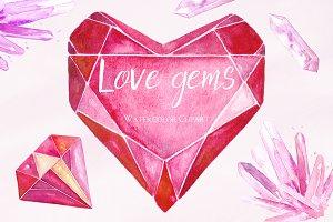 Hearts gems. Valentine clipart