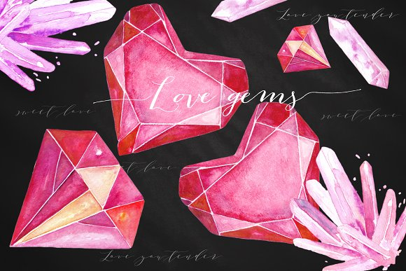 Hearts gems. Valentine clipart - Illustrations