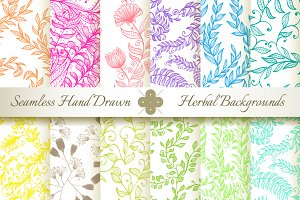 12 Hand Drawn Floral Patterns