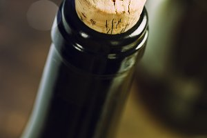 Bottle of wine close up