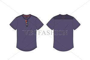 Men Henley Neck T-shirt Flat