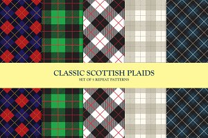 Set of 5 Scottish Plaid Patterns