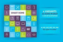 Smart Home Technology Line Art Icons
