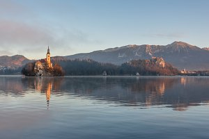 Sunrise at lake Bled