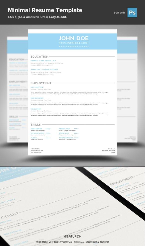 minimal resume psd template resume templates creative market