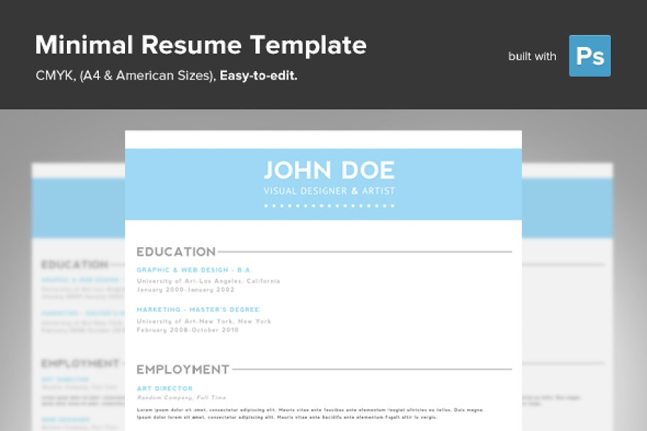 Minimal Resume PSD Template Templates Creative Market