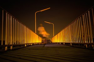 Footbridge with light reflection