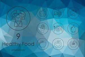 9 healthy food line icons
