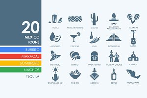 20 Mexico icons