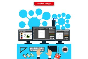 Workspace Graphic Design Monitor