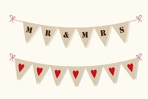 Cute burlap texture bunting flags