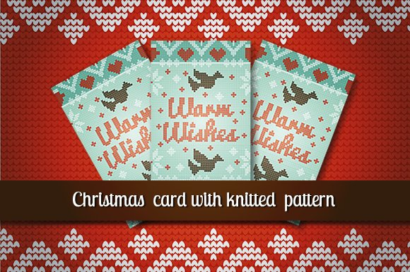 Christmas card with knitted  pattern