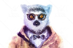 Watercolor Hipster Animals | Lemur