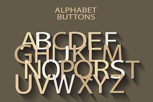 English cream alphabet long shadow