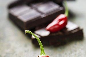 Dark chocolate with chili pepper