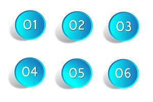 Number white buttons vector