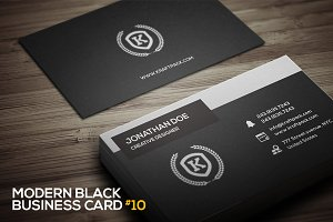 Modern Black Business Card #10