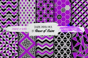 Purple/Silver Geometric Pack
