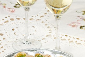 White wine in wine glasses
