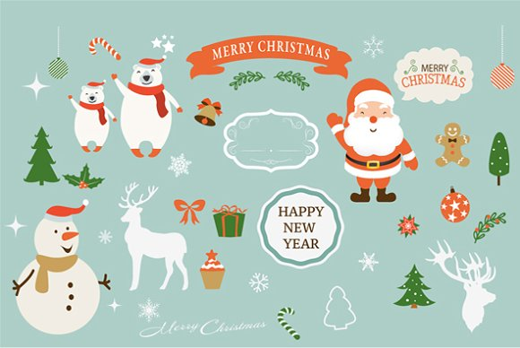 Christmas & New Year clipart set