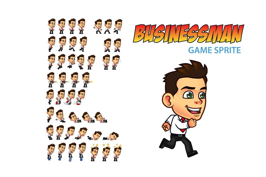 Businessman Game Sprite in Illustrations - product preview 8