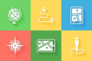 Cartography and navigation icons